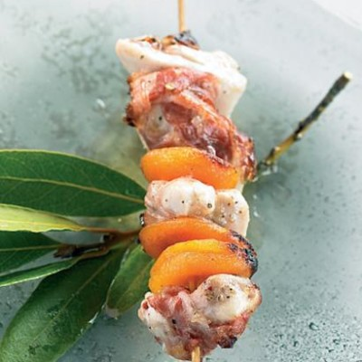 Grilled chicken, pancetta and dried apricot skewer ...