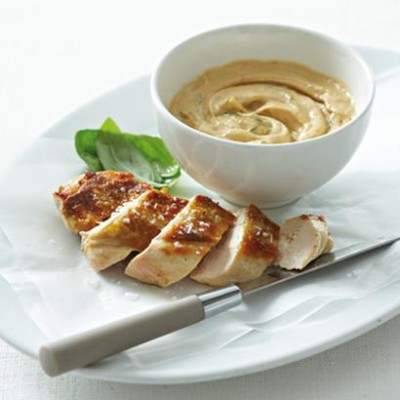 Grilled chicken with peanut, citrus and basil sauce