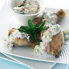 Grilled chicken with raita