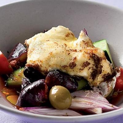 Grilled feta Greek salad