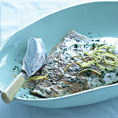 Grilled fish with anchovy-and garlic butter