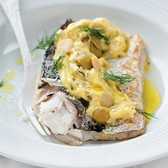 Grilled hake with green-olive mayonnaise