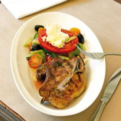 Grilled lamb chop with greek salad