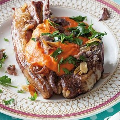 Grilled lamb chops with anchovy-and-tomato sauce