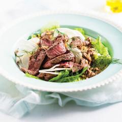 Grilled lamb, fennel and quinoa salad