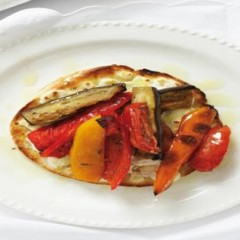 Grilled mediterranean vegetables on a cheese crust