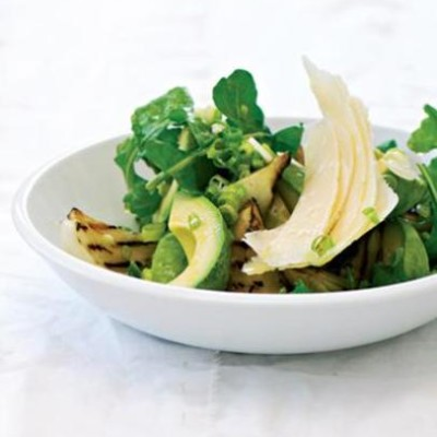 Grilled onion, avocado and parmesan salad