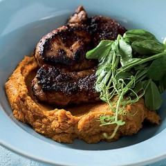 Grilled pork fillet with sweet maple carrot puree
