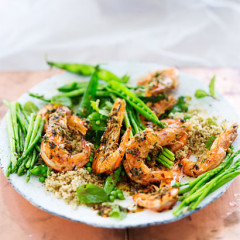 Grilled prawns with herbed couscous
