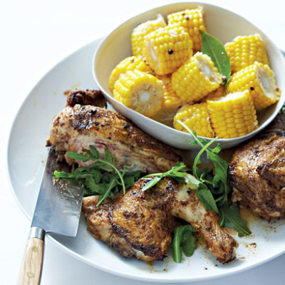 Grilled spiced flat roast chicken with marinated corn