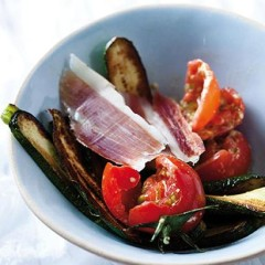 Grilled spring vegetables with serrano ham
