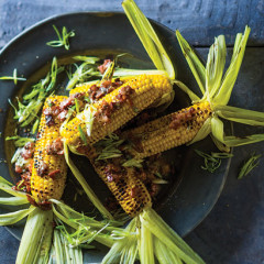 Grilled sweetcorn with crisp bacon and Gorgonzola