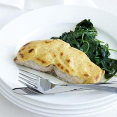 Grilled yellowtail with mustard sauce and roasted organic baby-leaf spinach