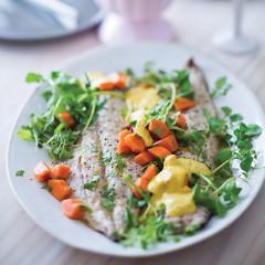 Grilled yellowtail with papaya-and-watercress salad and chermoula aioli
