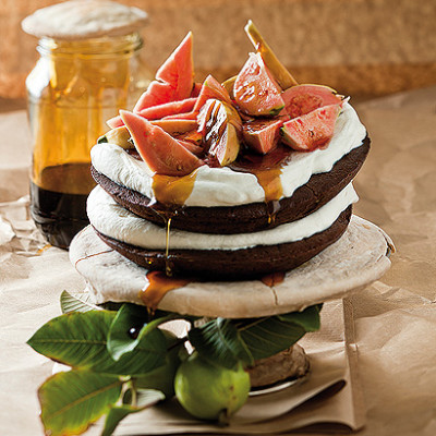 Guava and chocolate layer cake