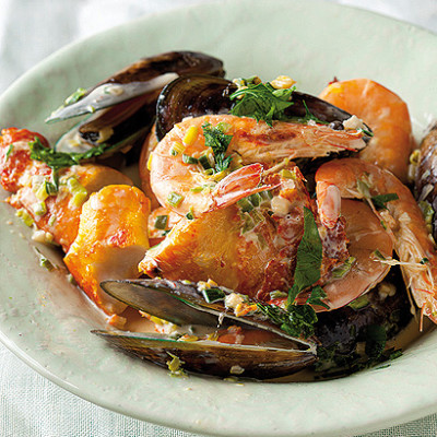 Haddock and prawn stew