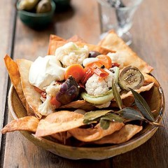 Handmade nachos and pickled vegetables