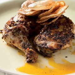 Harissa charred chicken with potato sheets