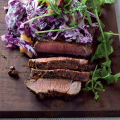 Harissa steak with autumn apple slaw
