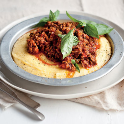 Herbed tomato mince with cheesy polenta