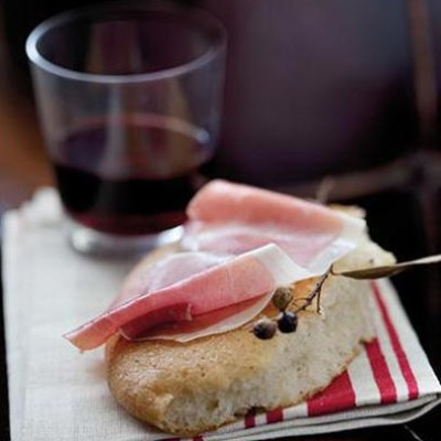Home-made salted rosemary olive oil bread topped with parma ham