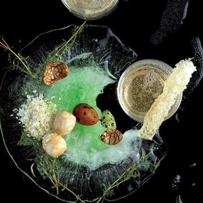 Honey and whisky sodas with teamarbled quails eggs and herb salt