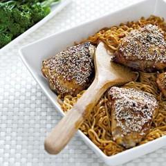 Honey sesame chicken noodles