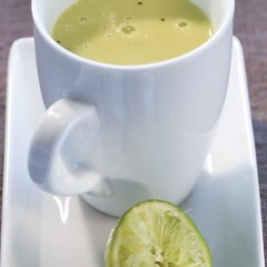 Hot avocado-and-chicken stock smoothie with fresh lime