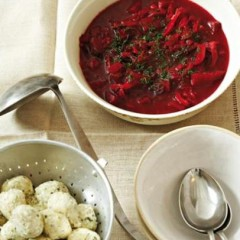 Hot roasted beetroot and red onion soup with dumplings