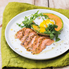 Hot-smoked trout and melon salad