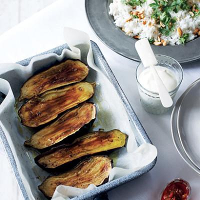 Indian baked spiced brinjals