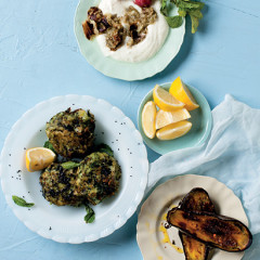 Indian-spiced potato cakes and brinjal raita