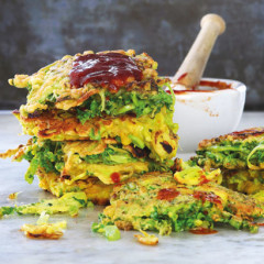 Japanese cabbage pancakes with okonomiyaki sauce