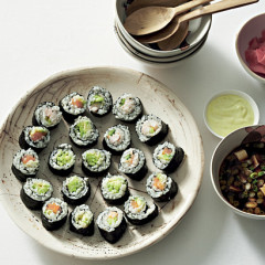 Japanese maki rolls with miso-tofu soup