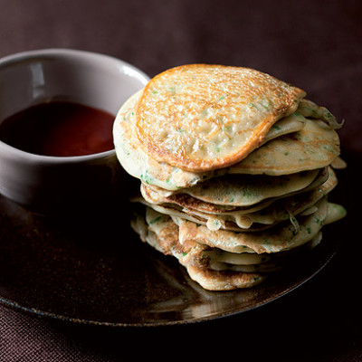 Japanese mushroom pancakes with plum dipping sauce