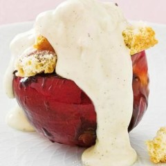 Juicy stone fruit baked in sticky balsamic blaze topped with crushed biscotti and organic white chocolate