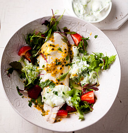 Kabeljou And Strawberries With Tzatziki And Granadilla Dressing Woolworths Taste