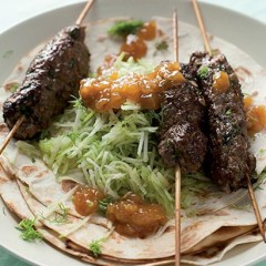 Koftas on toasted tortillas with apple slaw