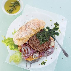 Lamb and red onion burgers