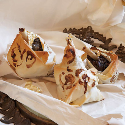 Lamb shanks in patterned phyllo blankets