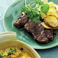 Lamb steaks with celeriac gratin