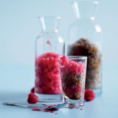Layered raspberry and mocha granita