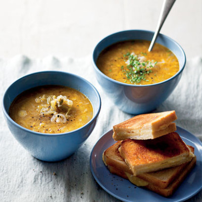 Leek-and-onion soup with grilled cheese sandwiches