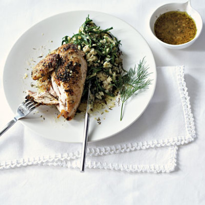 Lemon dill-baked chicken with egg-and-spinach rice