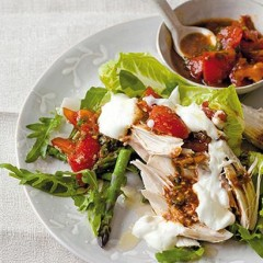 Lemon-thyme poached chicken with harissa and tomato
