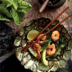Lemongrass prawns on baby gem lettuce
