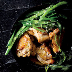 Lemony fried chicken and green beans