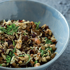 Lentil and dried fruit pilaf