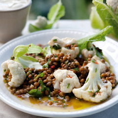 Lentil, coriander and chilli salad with warm cauliflower florets