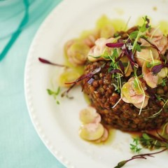 Lentil terrine with sprouts